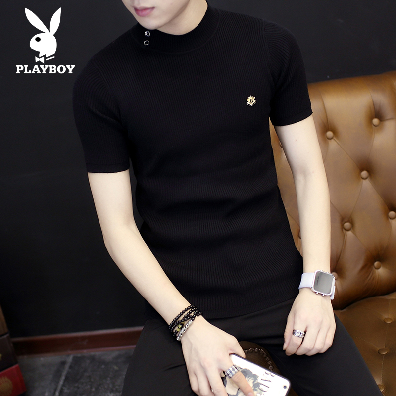 Playboy sweater mens Half Sleeve Black crew neck Pullover bottoming Shirt Short Sleeve autumn winter sweater slim fitting sweater