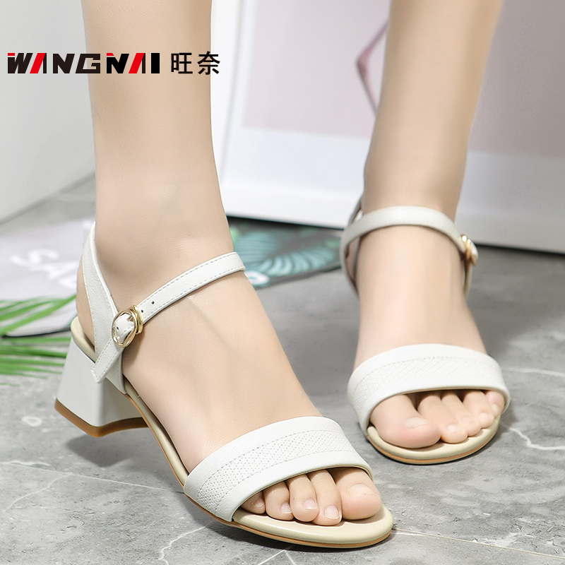 Middle heel versatile simple middle aged womens shoes summer genuine leather mothers shoes sandals open toe leisure work shoes womens Leather Sandals