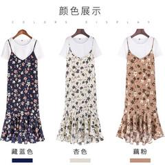 012#吊带连衣裙女2018套装短袖小碎花荷叶边雪纺中长款两件套裙子
