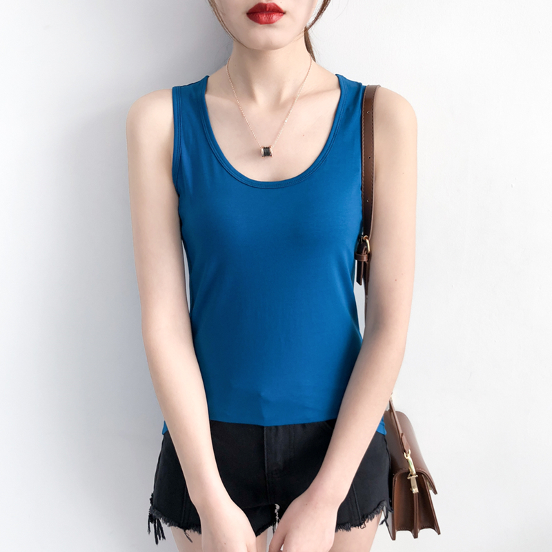Fat mm show thin summer sleeveless solid color top with extra fat plus size female cotton U-neck slim vest