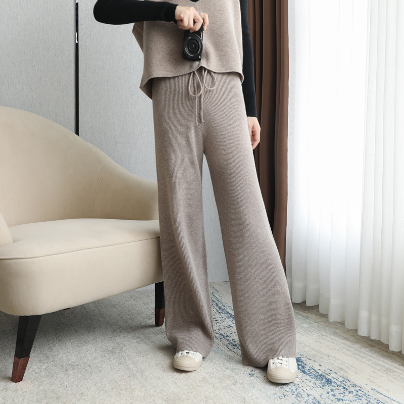High waist cashmere wide leg pants womens autumn and winter drape feeling loose leisure show thin straight tube pants knitting wear wool pants tide