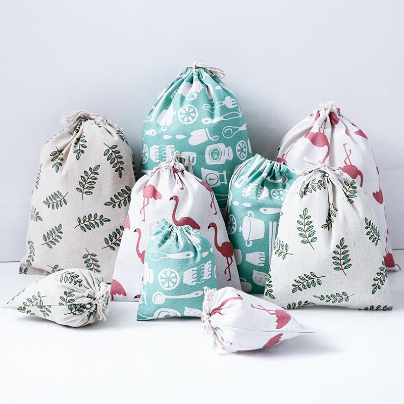 棉麻抽绳收纳袋衣物整理袋旅行出差鞋子束口袋杂物内衣袋子