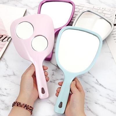 集美 宿舍小化妆镜子迷你便携随身镜小号手持手柄镜美容院梳妆镜