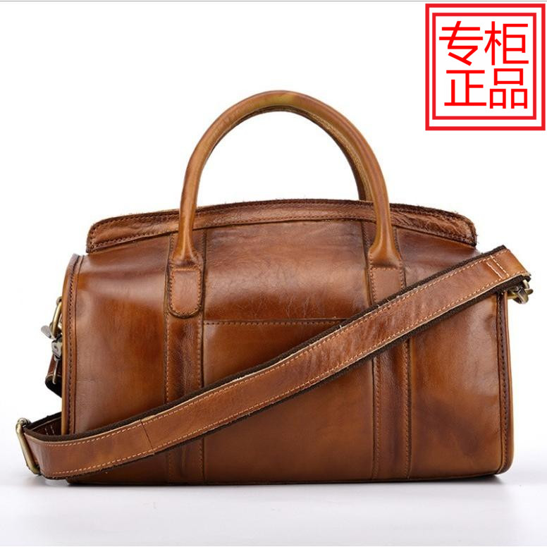Autumn and winter new top layer cowhide womens bag, one shoulder hand-held messenger bag, retro handbag, mens coloring bag