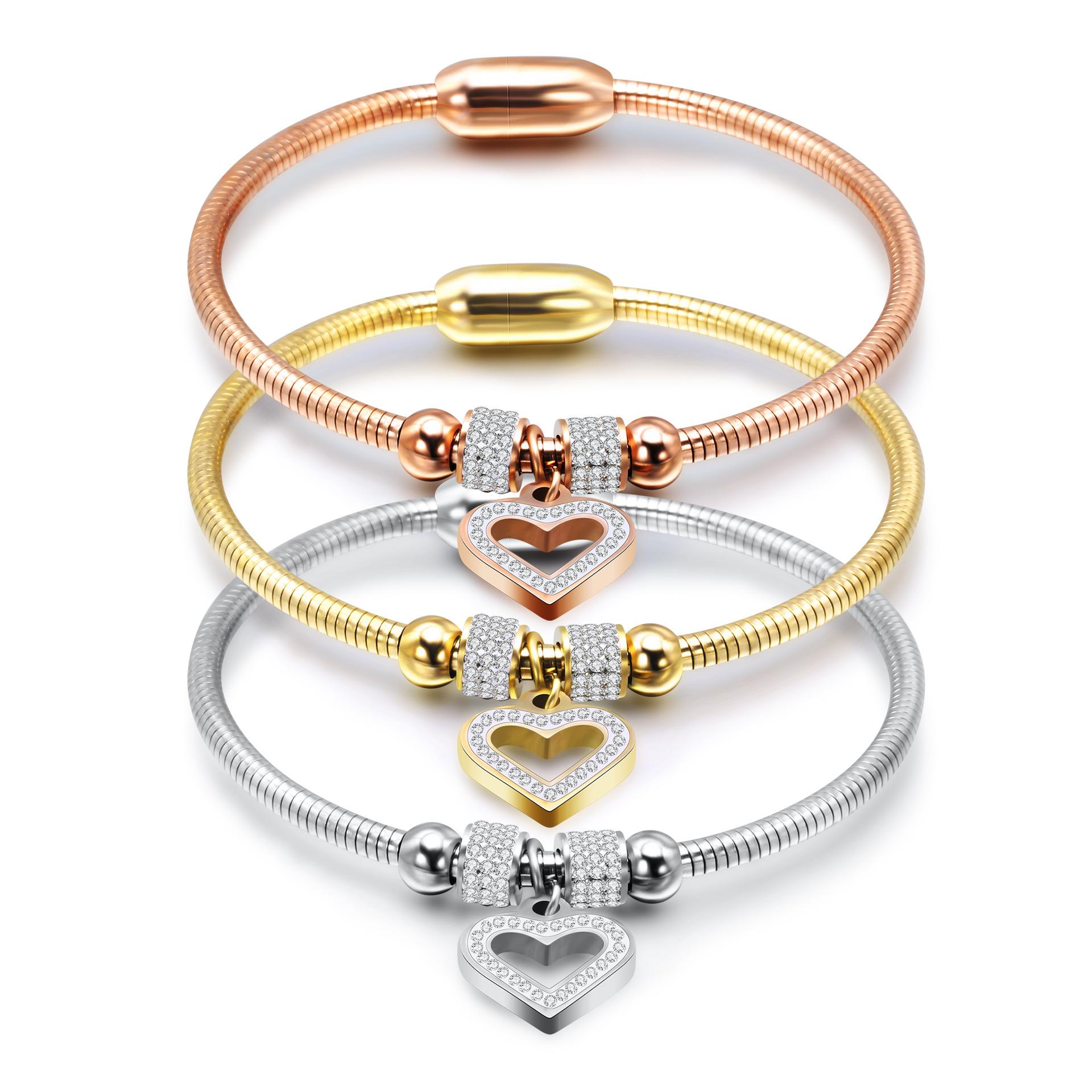 New fashion simple peach heart Titanium Steel Snake Chain Bracelet Diamond magnet buckle Diamond Bracelet