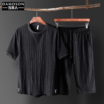 T恤男短袖套装冰丝薄款帅气皱条纹休闲宽松夏季上衣裤子一套衣服
