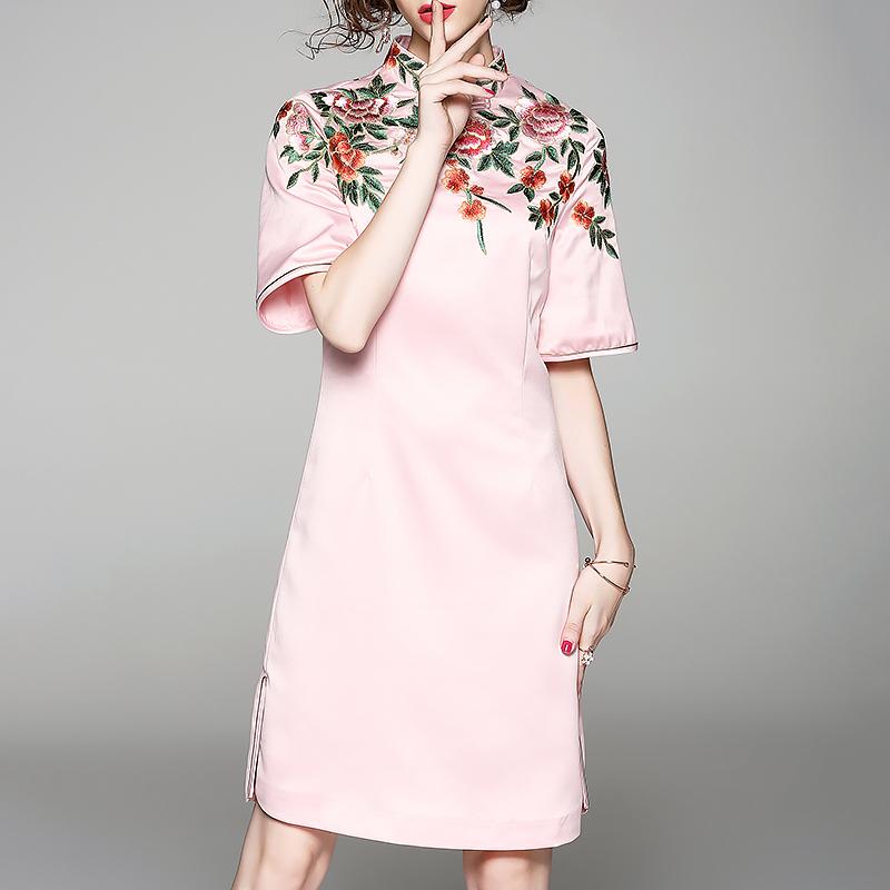 中国风改良旗袍女装2018夏季新款重工刺绣A字裙显瘦中长款连衣裙