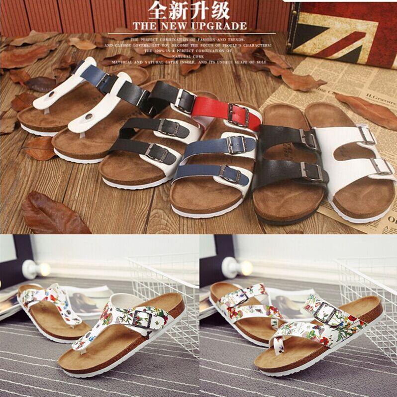 Couples Cork slippers mens summer pinch feet antiskid beach sandals Korean fashion sandals casual flip flops women