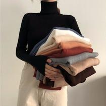 堆堆领短款宽松慵懒风高领套头韩版打底针织衫品牌清仓