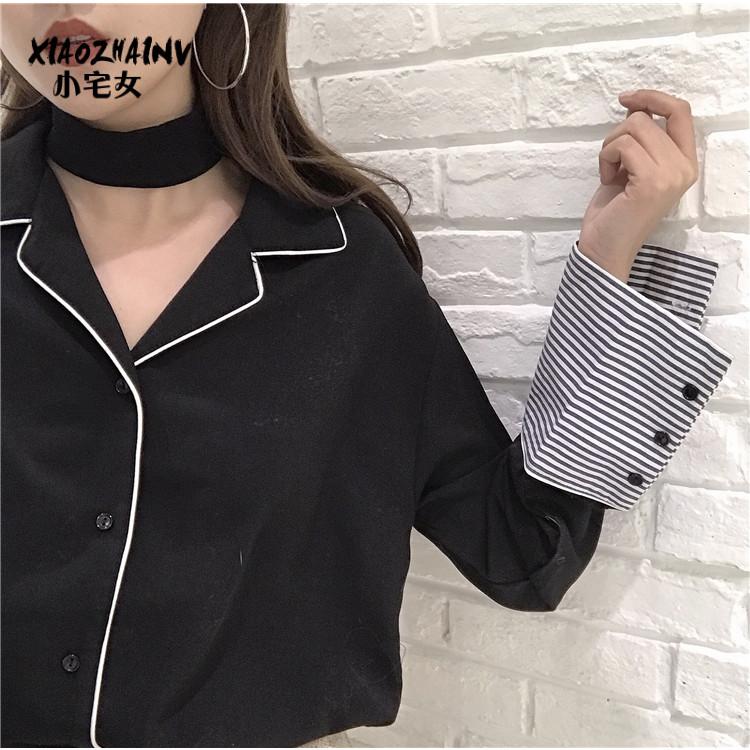 2018新款女装春装韩版chic条纹拼接上衣学生雪纺衬衫女长袖打底衫