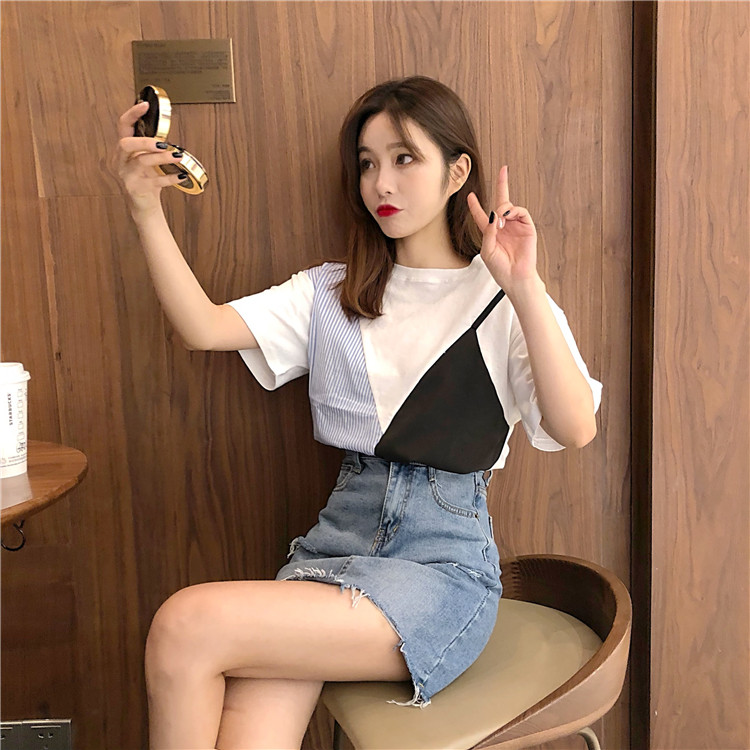 夏装2018新款韩版假两件拼接条纹T恤宽松网红同款衣服短袖上衣女