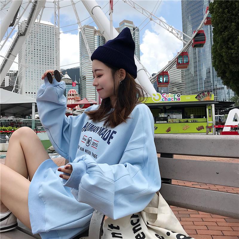 2018秋季新款女装长袖韩版时尚宽松百搭卫衣港味圆领薄款套头卫衣