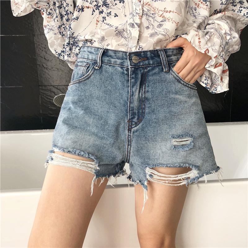 夏装2018新款女装韩版简约百搭学生显瘦破洞牛仔短裤女高腰热裤子