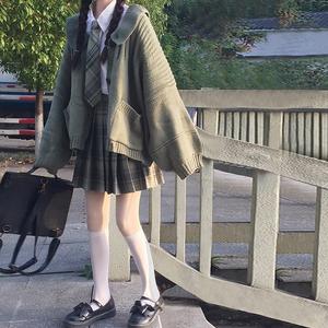 大码女装2020韩版慵懒宽松毛衣外套+高腰格子半身裙+衬衫时尚套装