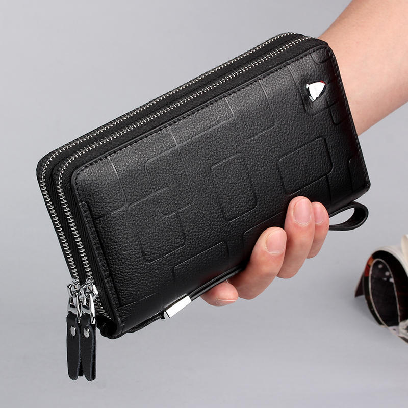 Mens wallet leather long large capacity leather handbag mens mobile bag single and double zippers optional