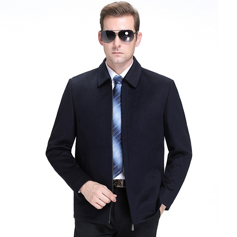 Wool jacket mens autumn and winter 2020 leisure brand mens middle-aged short mens wool cashmere jacket