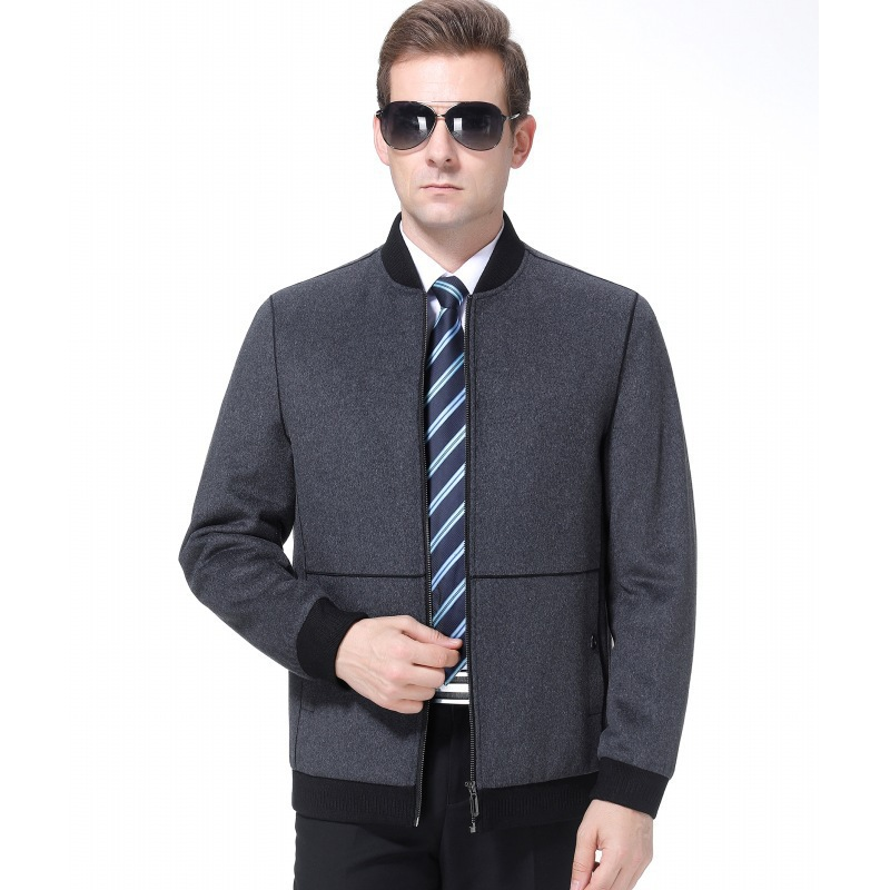 Cashmere jacket mens middle-aged warm wool jacket autumn and winter 2020 business fathers vertical collar woolen jacket