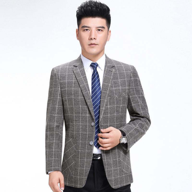2020 autumn new mens suit fashion leisure middle aged wool single suit plaid coat