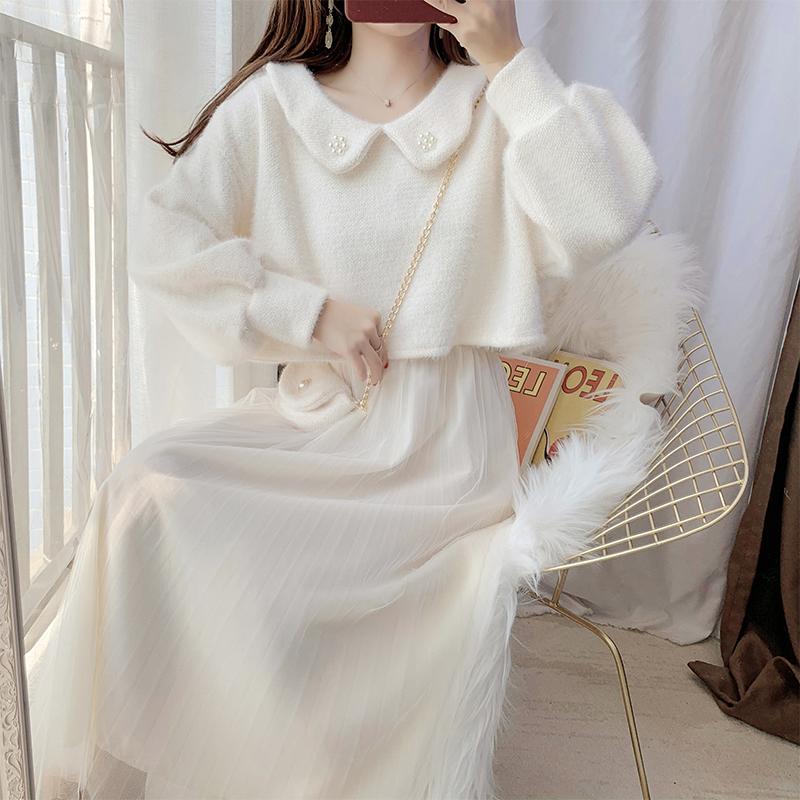 毛呢外套网纱裙吊带长裙连衣裙子女秋装2021年新款时尚两件套装裙