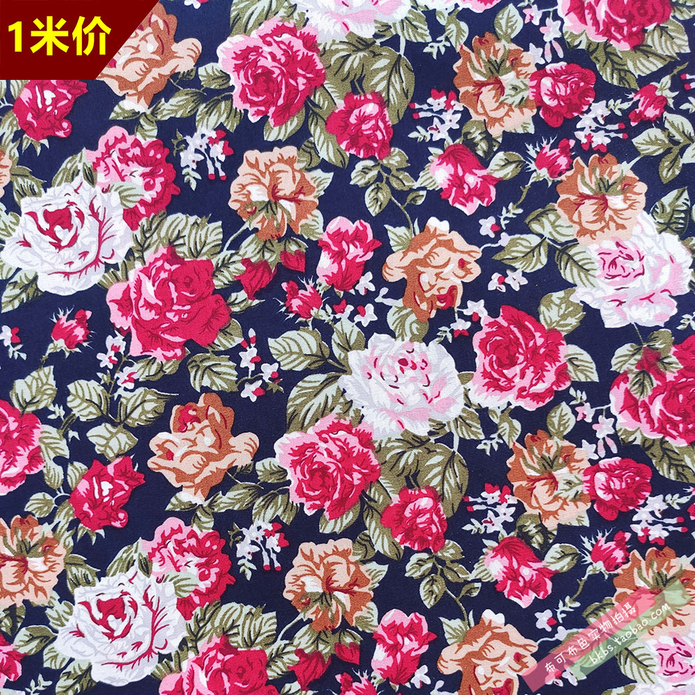Dark blue background green leaf red pink flower plain printing pure cotton cloth cotton flower cloth clothing fabric