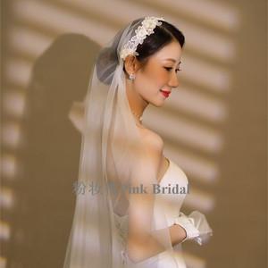 韩式长款拖尾新娘头纱蕾丝婚礼珍珠头饰旅拍超仙复古民国风头纱