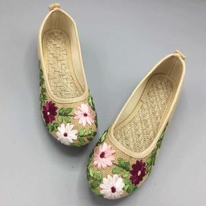 春夏新款女鞋老北京布鞋民族风绣花鞋子平底妈妈亚麻大码单鞋