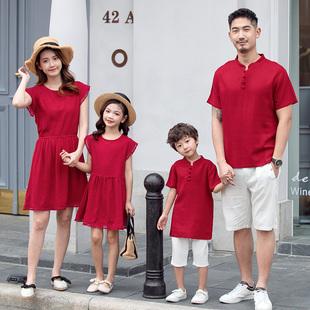 一家三口親子裝夏裝母女裝棉麻連衣裙中國風洋氣夏季母子短袖套裝