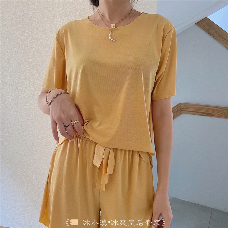 Ice desert ice cool queen housewear jelly suit short sleeve shorts two piece Morandi lazy ice pajamas