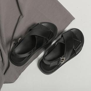 网红厚底凉鞋女仙女风夏ins潮2020年新款交叉绑带学生平底罗马鞋