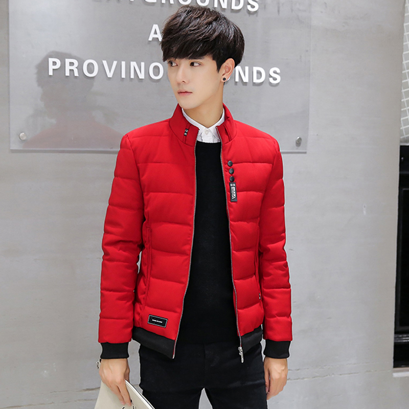 Mens cotton padded jacket 2021 winter new Korean slim down cotton padded jacket short coat trend small cotton padded jacket red