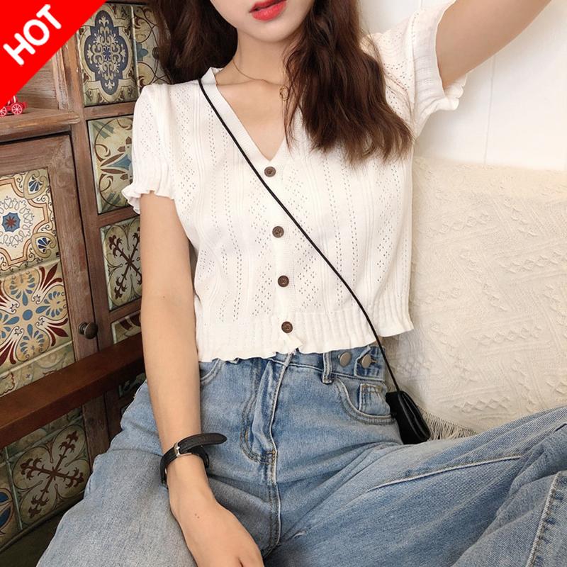 白色高腰短款v领针织衫短袖t恤