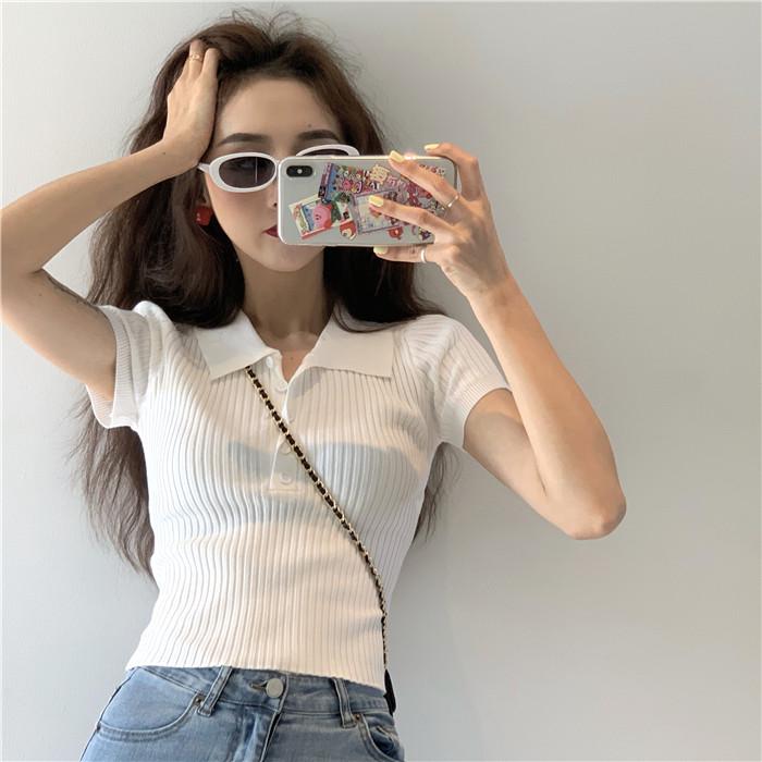 白色高腰上衣女装短款polo领紧身针织衫短袖t恤夏季法式别致小众