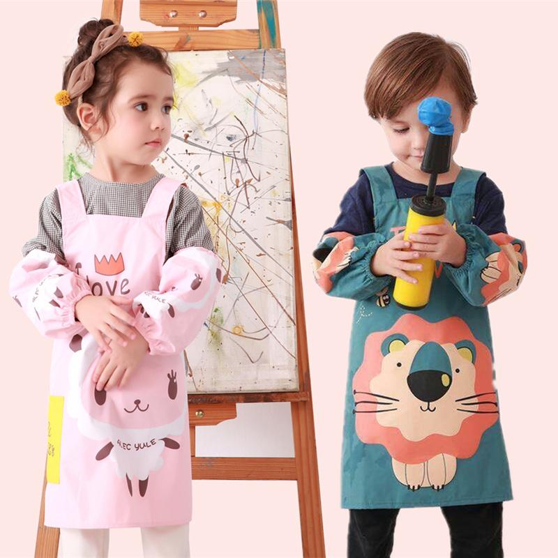 儿童罩衣反穿衣幼儿园防水画画衣男女孩围裙宝宝透气带罩袖绘画服