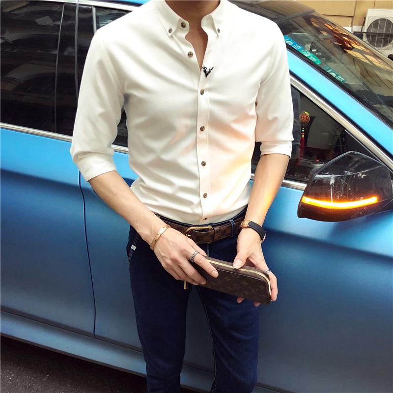 英伦短袖衬衫男士修身韩版潮流七分袖衬衣长袖中袖免烫抗皱发型师