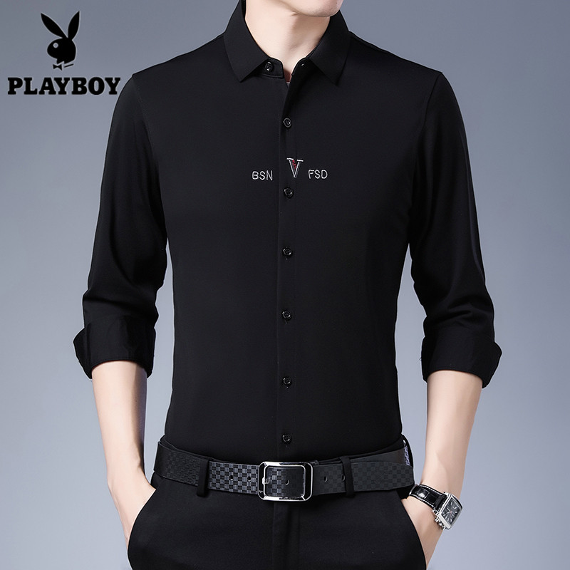 Playboy mens long sleeve shirt spring autumn middle aged shirt embroidered frosted Plaid Cotton middle aged mens wear