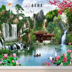 山水风景国画流水生财客厅沙发背景墙纸自粘3D大自然墙面贴画定制