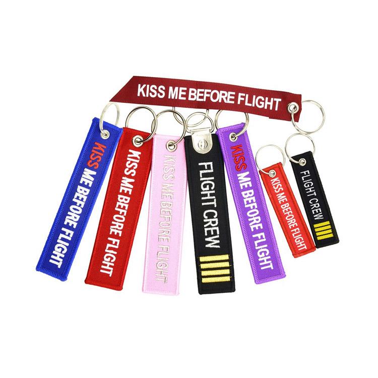 蓝色粉红紫 kiss me Before Flight 双面刺绣 机长钥匙扣空姐机组