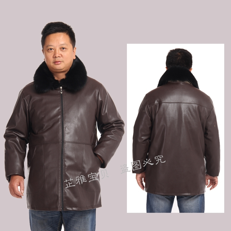Mens kitchen leather apron coat Long Sleeved waterproof and oil proof chefs work clothes Xinhua clothes down jacket