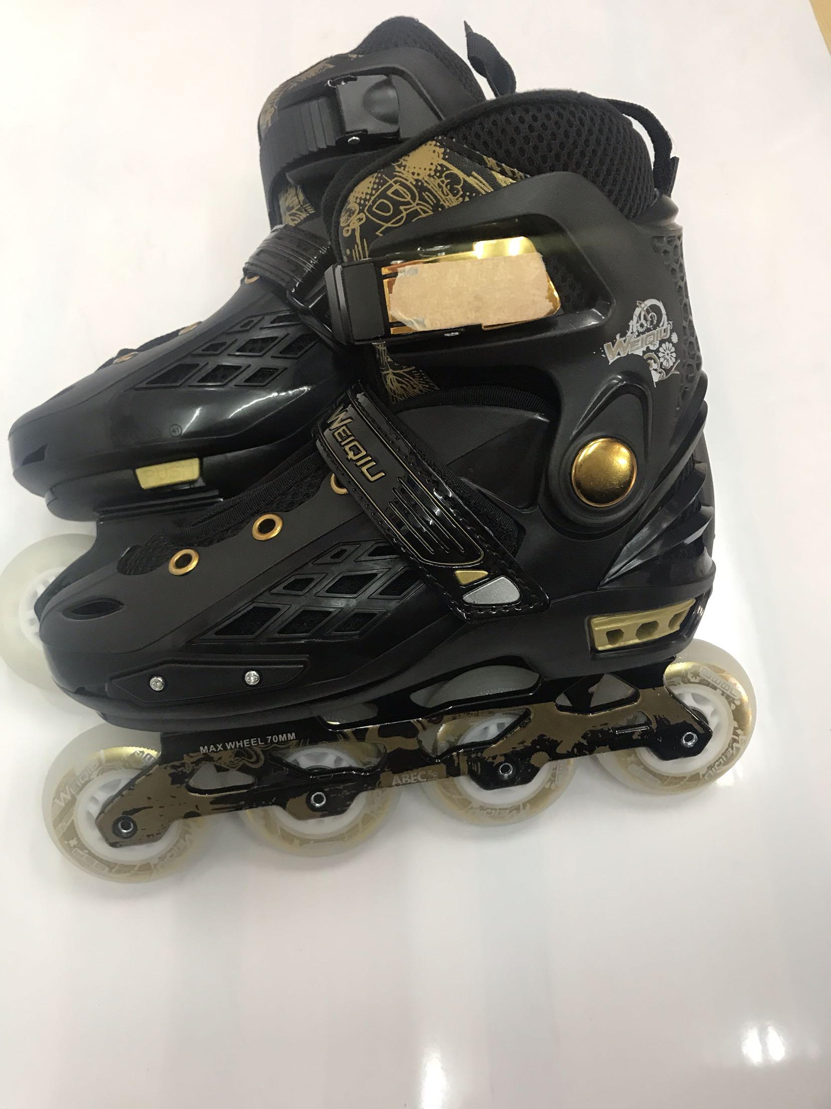 Weft ball professional adjustable flat skates skates adult straight row roller skates children roller skates single full flash