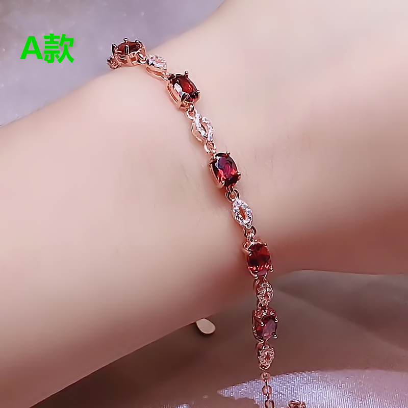 New spot 925 inlaid natural pigeon blood red garnet jewelry bracelet for women
