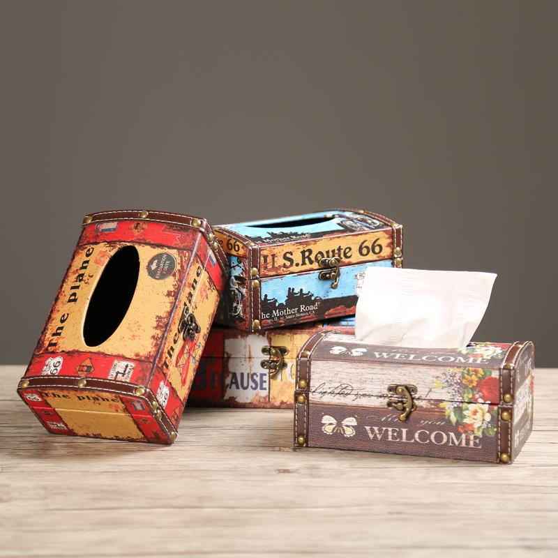Творческий кожа водонепроницаемый ткань американский ретро гостиная насосные коробка отели магазин еда полотенце кассета рулон привлечь