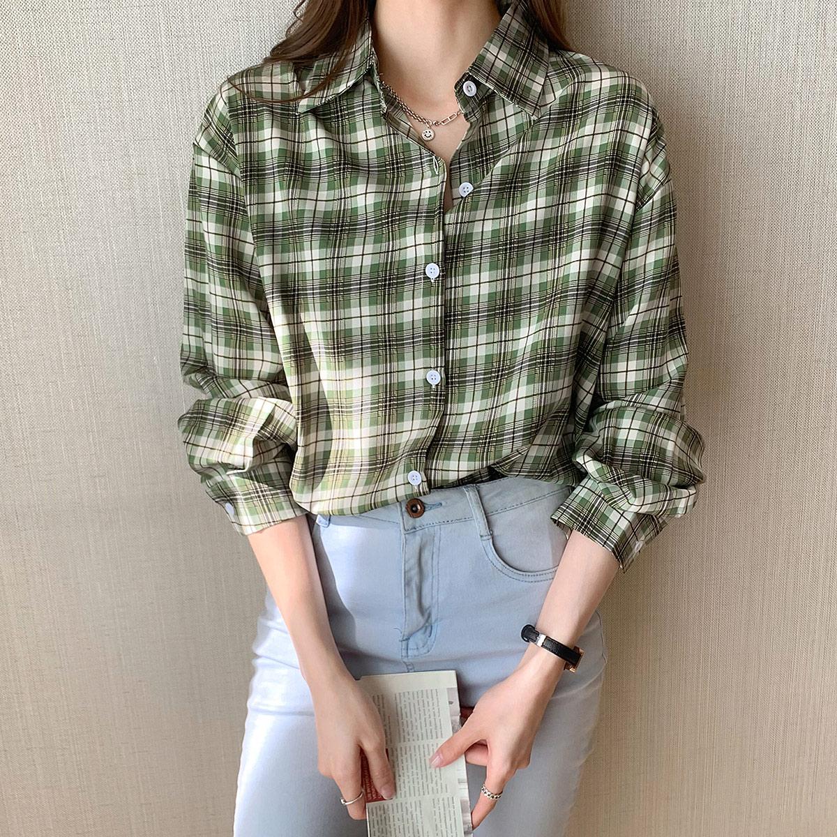 实拍 格子衬衫女设计感小众新款2021年秋季长袖薄款宽松衬衣