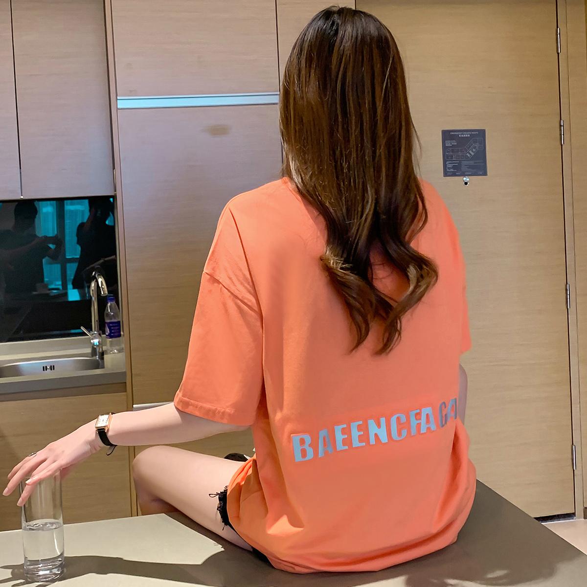 实拍 夏季2021新款凹凸字母印花纯棉t恤女短袖宽松中长款上衣3763
