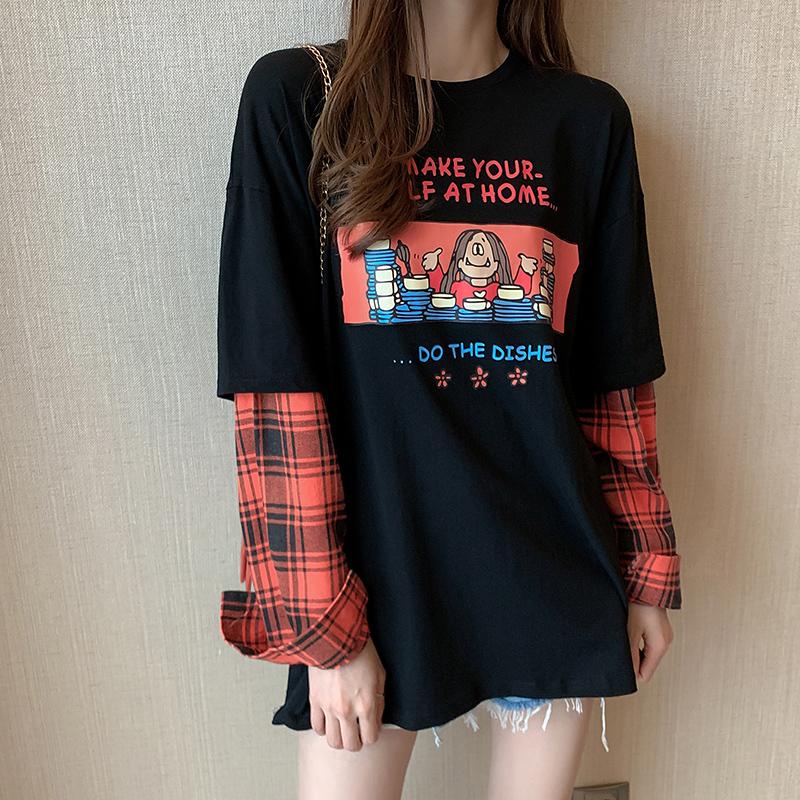 实拍纯棉假两件t恤女长袖2021新款秋季宽松韩版复古百搭上衣