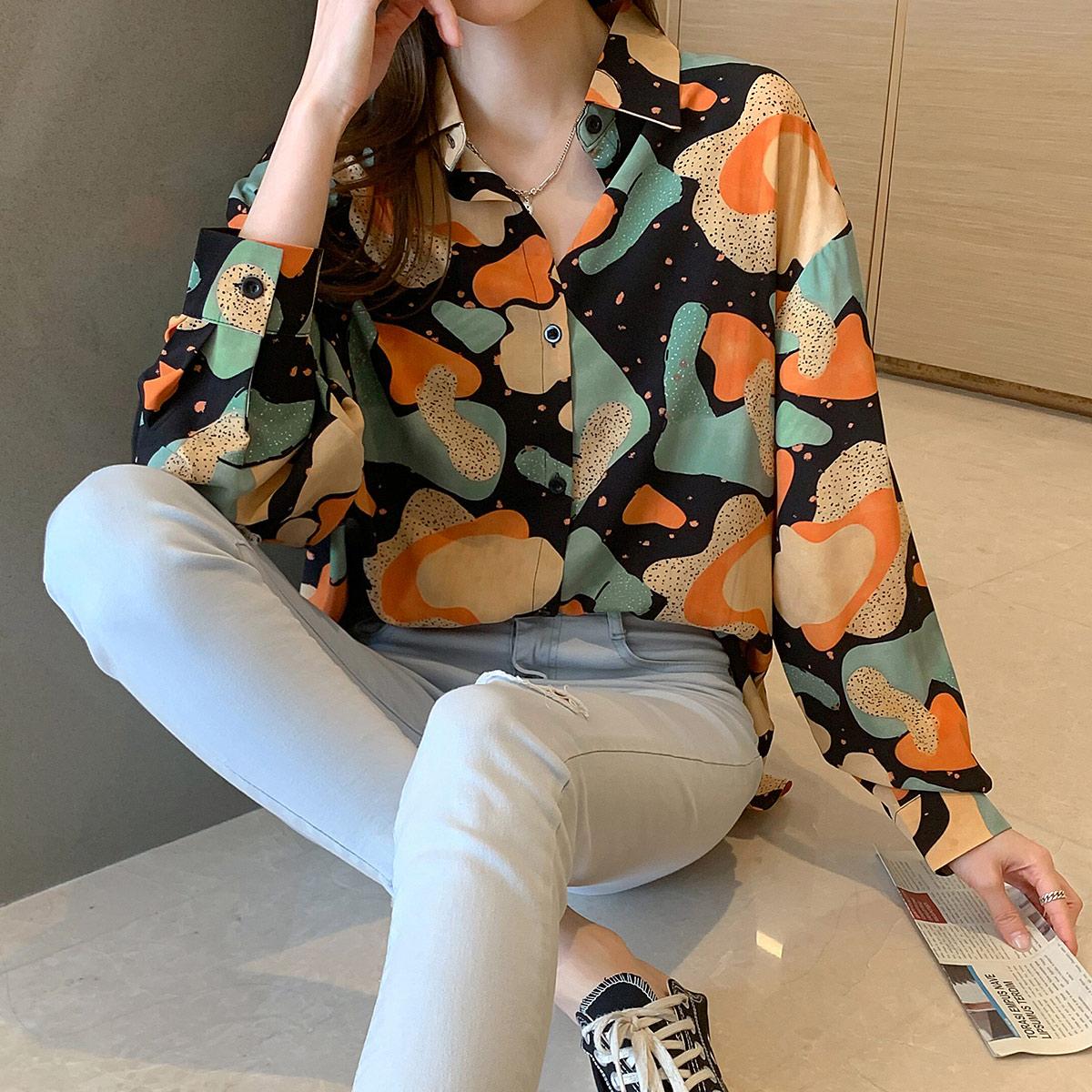 实拍 长袖衬衫女秋季2021年新款港风宽松百搭设计感百搭衬衣