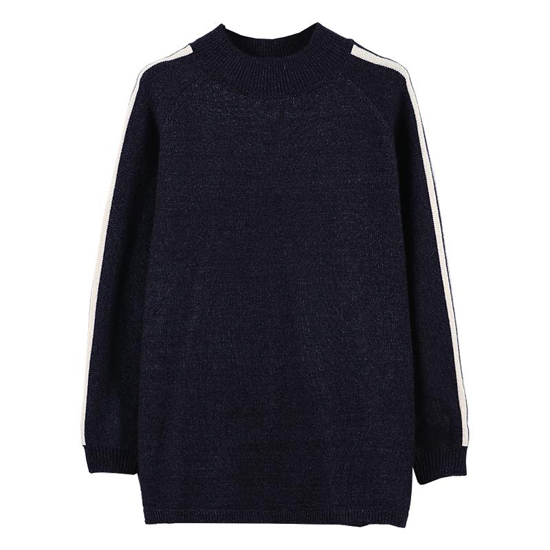 九月陌墨 2018秋季新款女装条纹拼接半高领套头毛衣女 宽松针织衫