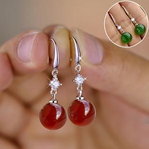 天然玛瑙耳环S925纯银珍珠耳坠长款女韩版时尚网红耳饰防过敏耳圈