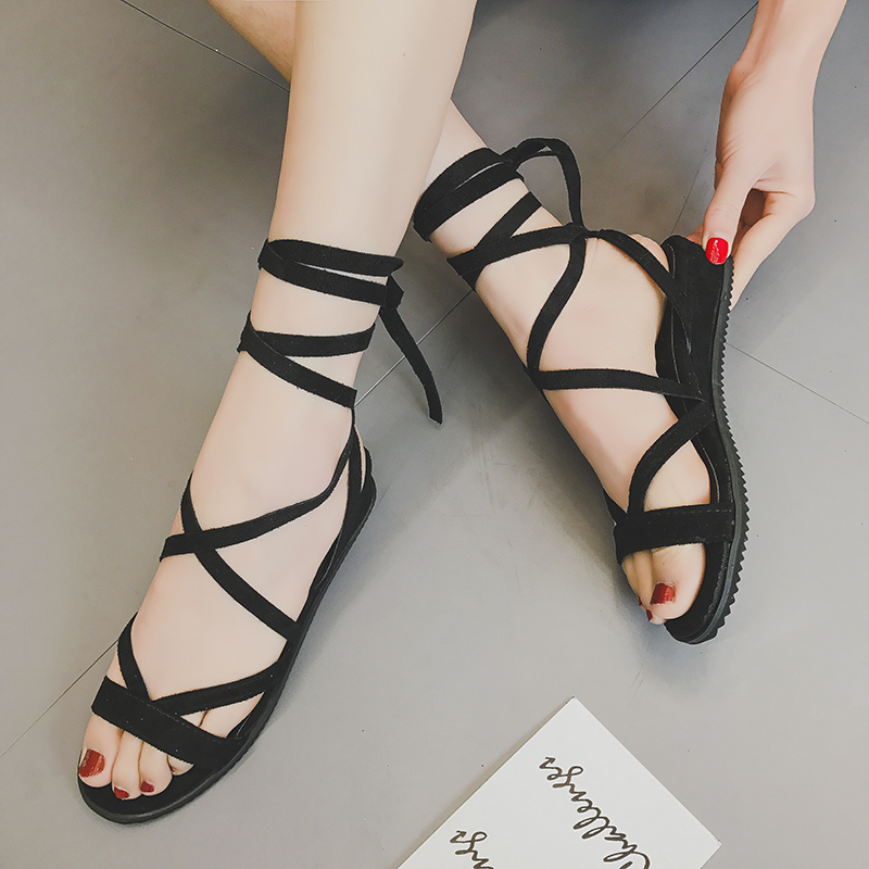 Summer 2020 Korean cross strapping small slope heel open toe lace up FLAT SANDALS BEACH shoes casual Roman womens shoes