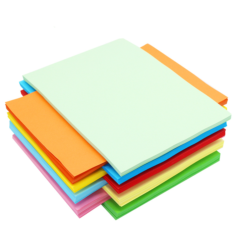 包郵a4彩色紙 75G打印複印紙彩色 折紙粉紅十色混裝500張