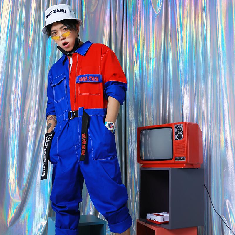 熊猫风暴 红蓝撞色刺绣背带ins超火嘻哈宽松长袖工装连体衣国潮男